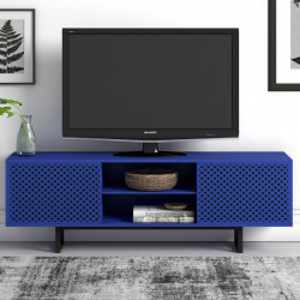 Comoda TV albastra/neagra din lemn si PAL 150 cm Camden Diamond Woodman