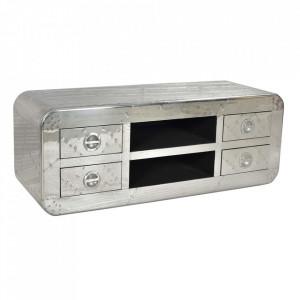 Comoda TV argintie din lemn de mango si aluminiu 140 cm Airman Sit Moebel