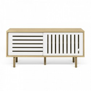 Comoda TV maro/alba din MDF si lemn 135 cm Dann Stripes TemaHome
