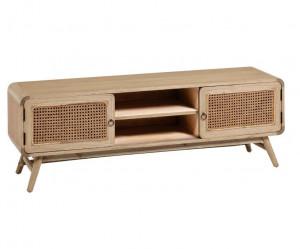 Comoda TV maro din lemn mindi si ratan 150 cm Nalu Kave Home