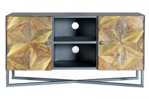 Comoda TV maro/gri din metal si lemn de mango 112 cm Kalia Giner y Colomer