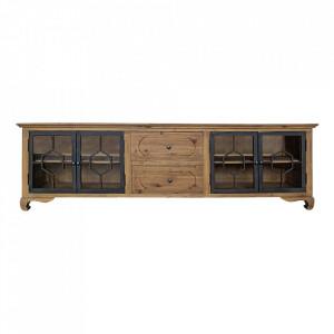 Comoda TV maro/neagra din lemn si fier 220 cm Lavik Vical Home