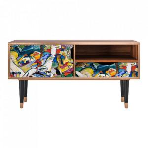 Comoda TV multicolora din MDF si lemn 114,2 cm Improvisation 26 By Wassily Kandinsky Sara Furny