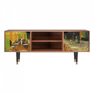 Comoda TV multicolora din MDF si lemn 170 cm Café Terrace At Night By Vincent Van Gogh Lara Furny