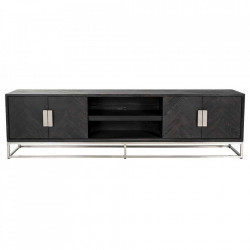 Comoda TV neagra/argintie din lemn si inox 220 cm Blackbone Unit Richmond Interiors