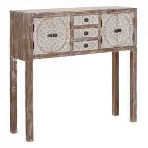 Consola alba/maro din lemn de pin si MDF 95 cm Sint Ixia