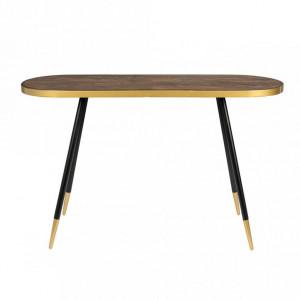 Consola maro/neagra din lemn si metal 121 cm Denise White Label
