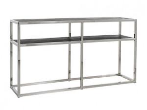 Consola neagra/argintie din lemn si inox 150 cm Blackbone Side Richmond Interiors