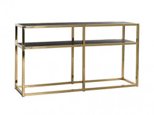 Consola neagra/aurie din lemn si inox 150 cm Blackbone Side Gold Richmond Interiors