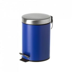 Cos de gunoi albastru inchis/argintiu din metal 3 L Burna Unimasa