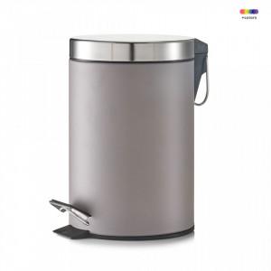 Cos de gunoi gri din metal 3 L Pedal Bin Gray Zeller