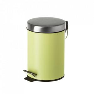 Cos de gunoi verde/argintiu din metal 3 L Burna Unimasa