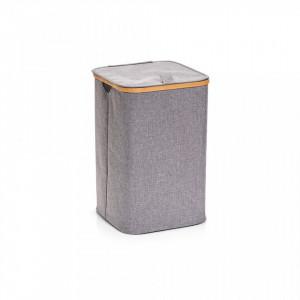 Cos de rufe gri din poliester si lemn 33x50 cm Laundry Collector Bamboo Zeller