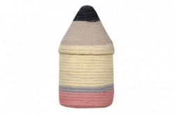 Cos multicolor cu capac din bumbac Pencil Small Lorena Canals