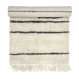 Covor alb din lana 120x60 cm Black Lines Bloomingville