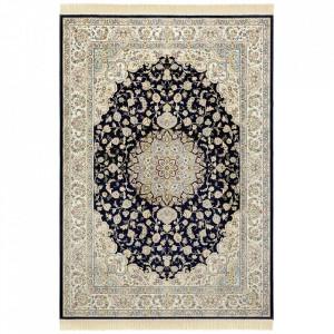 Covor albastru inchis/crem din viscoza si bumbac Naveh Antik Nouristan (diverse dimensiuni)