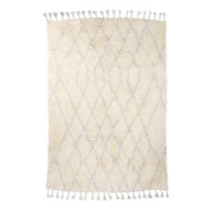 Covor dreptunghiular alb/albastru din lana 180x280 Karina HK Living