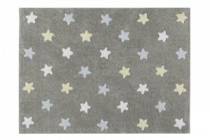 Covor dreptunghiular gri/albastru din bumbac pentru copii 120x160 cm Tricolor Stars Grey Blue Lorena Canals