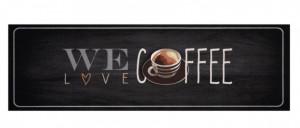 Covor gri bucatarie din poliamide 45x140 cm We Love Coffee Zala Living