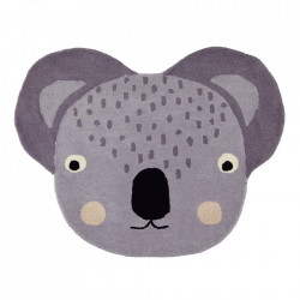 Covor gri din lana si bumbac 85x100 cm Koala Oyoy