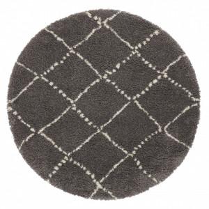 Covor gri inchis/crem din polipropilena Allure Hash Dark Grey Cream Round Mint Rugs (diverse dimensiuni)
