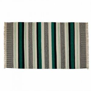 Covor negru/turcoaz din lana si viscoza 160x230 cm Yamu Zago