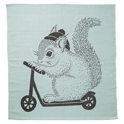 Covor patrat bumbac verde 120x120 cm Squirrel On Skate Board Bloomingville