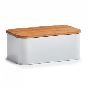 Cutie alba/maro din metal si lemn cu capac pentru paine Shyam Zeller