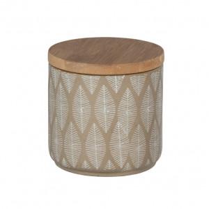 Cutie cu capac bej/maro din ceramica si lemn pentru bijuterii Tupian Wenko