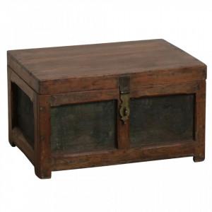 Cutie cu capac maro din lemn de tec Jali Raw Materials