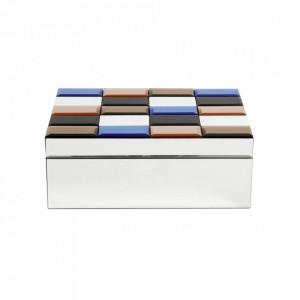 Cutie cu capac multicolora din sticla si MDF pentru bijuterii Miras Large Nordal
