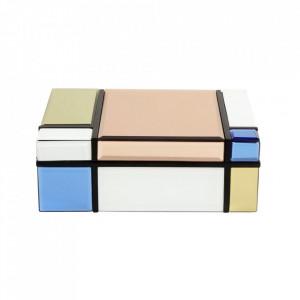 Cutie cu capac multicolora din sticla si MDF pentru bijuterii Miro Large Nordal