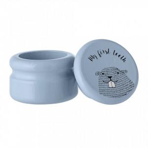 Cutie cu capac pentru dintii de lapte albastru din lemn de lotus Teeth Bloomingville