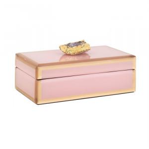 Cutie cu capac roz/aurie din sticla si MDF pentru bijuterii Jaylyn Richmond Interiors