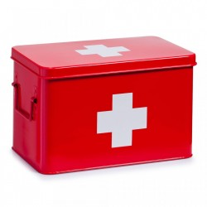 Cutie rosie/alba cu capac din metal pentru medicamente Medicine Box Maxi Zeller