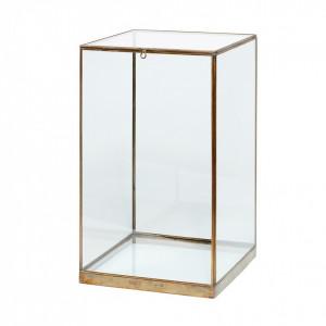 Cutie transparenta/aurie din sticla si alama 25x25 cm Antique Gold Hubsch