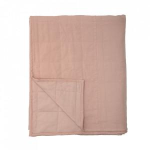 Cuvertura matlasata roz din bumbac si poliester 220x260 cm Honesty Bloomingville