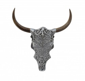 Decoratiune argintie/maro pentru perete din metal si lemn 51x57 cm Skull Exotic Bull Invicta Interior