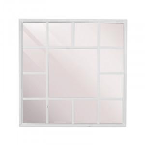 Decoratiune cu oglinda alba din lemn pentru perete 69x69 cm Fernao Square LifeStyle Home Collection