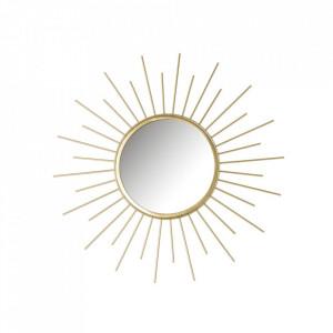 Decoratiune cu oglinda aurie din fier pentru perete 45 cm Soleil Unimasa