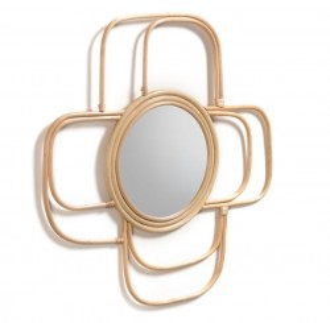 Decoratiune cu oglinda maro din ratan pentru perete 60x60 cm Maeve Kave Home