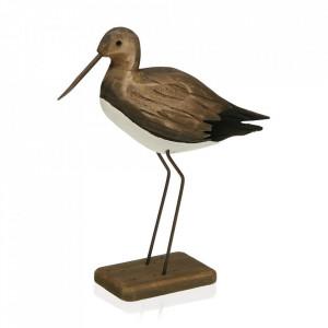 Decoratiune maro/alba din lemn si metal 29 cm Stork Versa Home