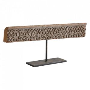 Decoratiune maro din lemn de tec si metal 25 cm Latur Raw Materials