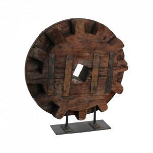 Decoratiune maro din lemn si metal 79 cm Wheel Raw Materials