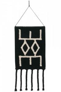 Decoratiune neagra/crem din bumbac pentru perete 45x90 cm Bereber Black Lorena Canals