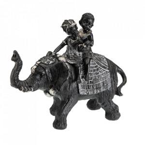 Decoratiune neagra/gri din rasina 24 cm Elephantis Alko Versa Home