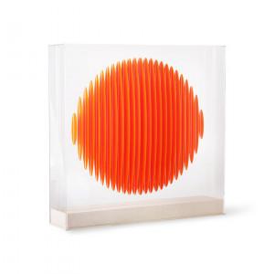 Decoratiune portocalie/transparenta din plastic acrilic si MDF 60 cm Circle Art HK Living
