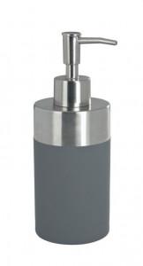Dispenser gri/argintiu din polistiren si inox 300 ml Creta Soap Wenko