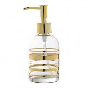 Dispenser sapun lichid auriu/transparent din sticla 7x17 cm Soap Bloomingville