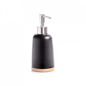 Dispenser sapun lichid negru/maro din polirasina si lemn 7,5x16,8 cm Naija Zeller